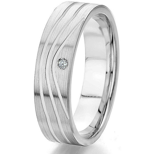 Modern flat wedding band with a satin finish top with engraved