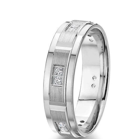 Modern 6 mm comfort-fit engraved diamond wedding band with bold rectangular diamond sections in 10k white gold with 12 round natural brilliants, 0.18 cts, total weight.