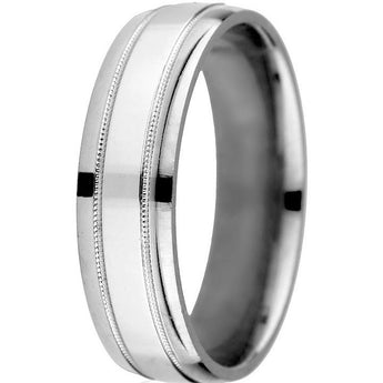 Classic bright border 6mm 14k comfort-fit band with milgrain details in 14k white gold.