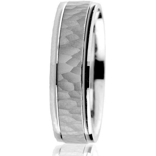 6 mm white gold hammered wedding band with polished edges in 10 k