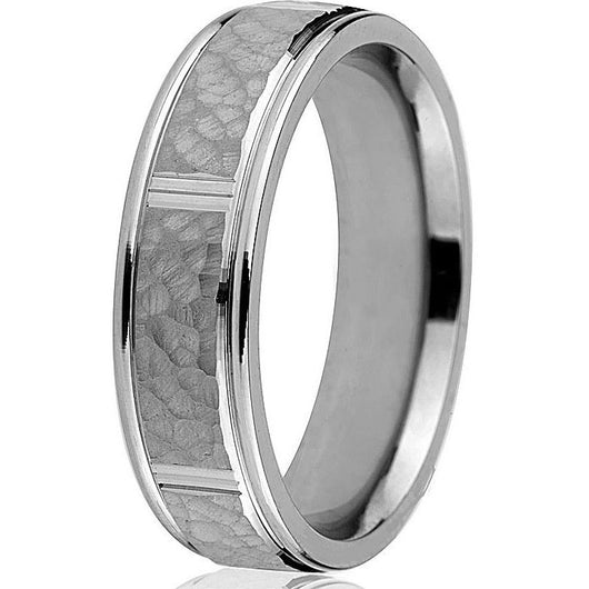 Classic 6mm comfort fit hammered ring with sectional bright cuts and stepdown edge in 14k white gold.
