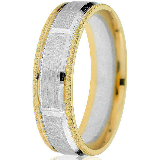 Two-tone 6 mm comfort fit wedding band engraved vertical groove wedding band in 14 k white gold centre and yellow gold base with milgrain detail.