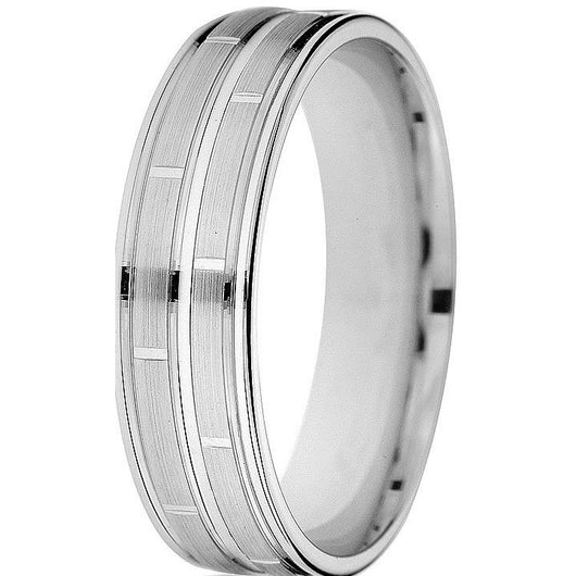 Smart crisp off-set engraving on this 6mm comfort-fit band make this ring very impressive in 10k white gold.