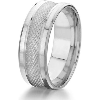 Spectacular 6mm wide wedding band featiuring a convex centre with
