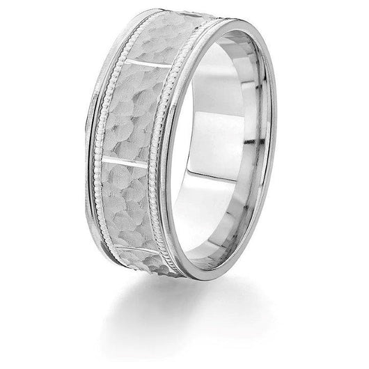 Striking 14k comfort-fit wedding band featuring bright cut edges, hammered rectangular sectional engraving and milgrain detail in white gold.