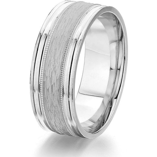 Bold high polish groove followed milgrain detail and a textured bark finish centre in 8mm white gold in the comfort-fit wedding ring.