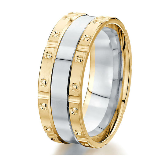 Striking modern two-tone 8 mm wedding band featuring yellow engraved borders with a polished centre strip of white gold.