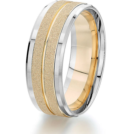 Updated version of a classic 14k gold comfort-fit 8mm band featuring a white gold base with 2 sections of textured yellow gold and bevelled edges.