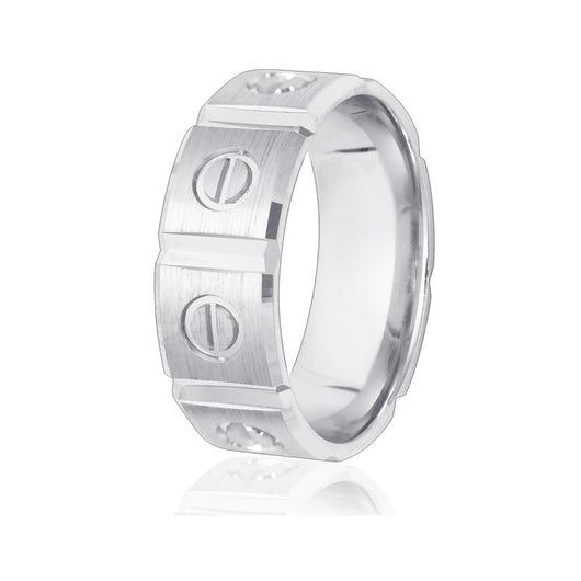 Sectional wedding ring in 8mm width with bevelled edges and circle design in 10k white gold with comfort-fit.