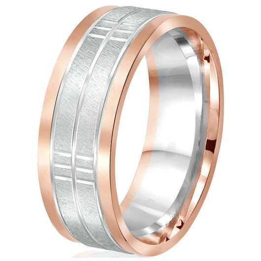 Impressive 8mm flat two-tone wedding band featuring an engraved white gold textured centre bordered by two rose gold edges in 10k gold with comfort-fit.