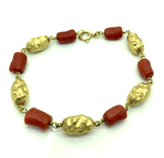 18k red coral and gold nugget bracelet