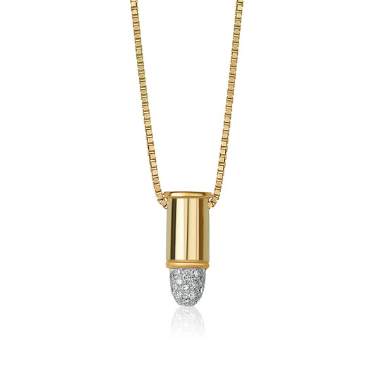 14k yellow and white gold bullet pendant with diamonds attached to an integrated 14k yellow gold box chain