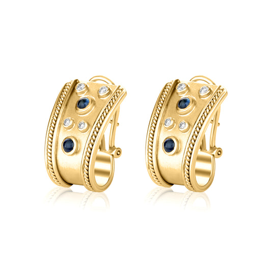 Diamond and cabochon sapphire earrings in 14k yellow gold