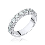 Diamond wedding band with 10 round natural brilliants in 14k white gold