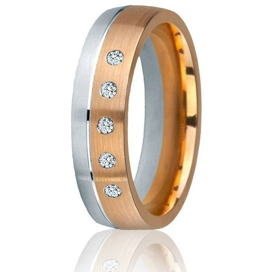 A stunning off-set two-tone wedding ring with 5 round natural brilliant diamonds (0.10 cts) in 14k white and rose gold, comfort-fit in 6 mm.