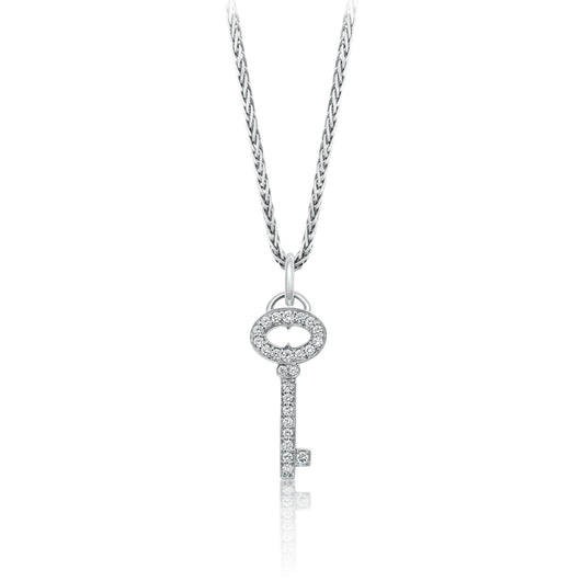 Small diamond pavee set diamond key on a chain