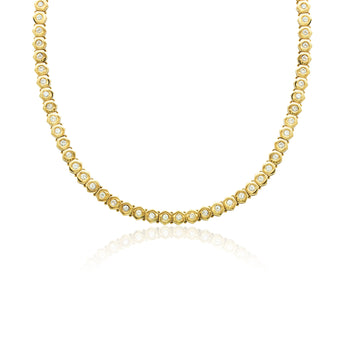 18 kt yellow gold diamond tennis necklace