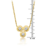 18k yellow gold handcrafted diamond pendant with 3 round diamonds