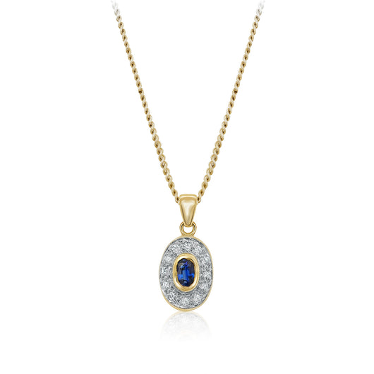 Diamond and oval sapphire pendant necklace