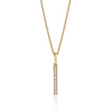 Vertical diamond bar necklace in 14k yellow gold