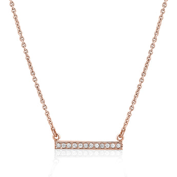 Diamond bar necklace in 14k rose gold