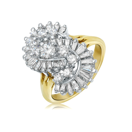 Diamond cocktail ring with interlocking