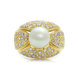 Diamond and pearl hand-made ring in 18k yellow gold