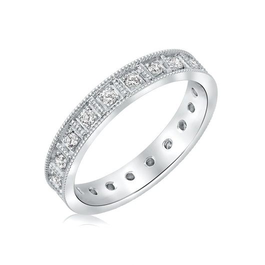 White gold diamond wedding band - modern vintage style in 14k white gold