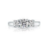 Three-stone diamond ring in 14k white gold