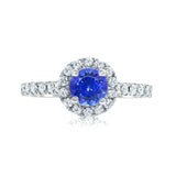 Diamond and tanzanite halo ring