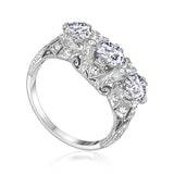 Platinum vintage three-stone ring