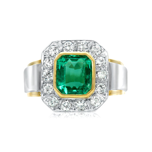 Rectangular emerald and diamond ring in 18k two-tone gold