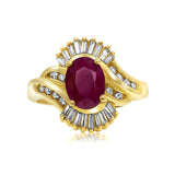 14 kt yellow gold oval ruby and diamond ring