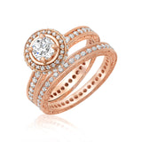 14 karat rose gold diamond ring with matching diamond band