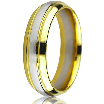 Classic domed two-tone 6 mm comfort-fit yellow gold base with white gold inlay update this timeless wedding band in 14k gold.