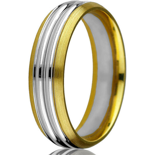 Striking two-tone 14kt comfort-fit wedding band with a bevelled edge on a yellow gold base and two grooved white gold inlays.