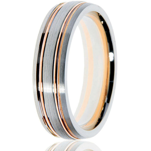 Distinguished updated classic of a domed wedding band in white gold with 2 yellow gold inlays for intricate detailing.