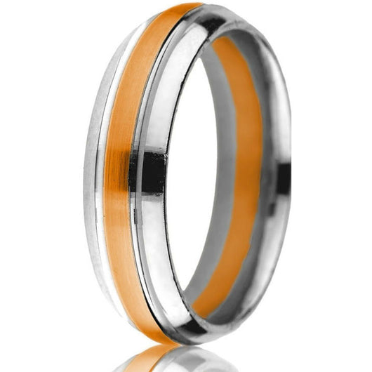Classic domed two-tone 6 mm comfort-fit white base with yellow gold inlay update this timeless wedding band in 14k white and rose gold.