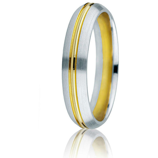 Domed white gold 14k two-tone 6mm wedding band in comfort-fit with 14k yellow gold inlay.