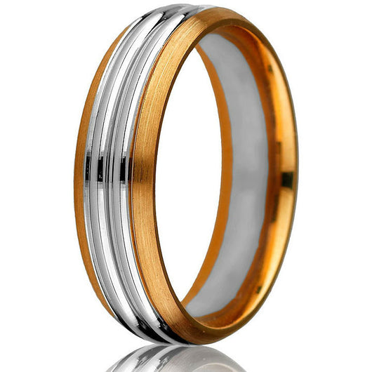 Striking two-tone 14kt comfort-fit wedding band with a bevelled edge on a rose gold base and two grooved white gold inlays.