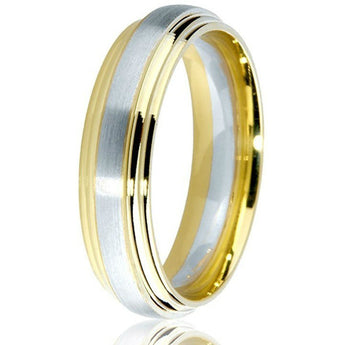Oustanding 14k two-tone engraved double step 6 mm band with white gold inlay.