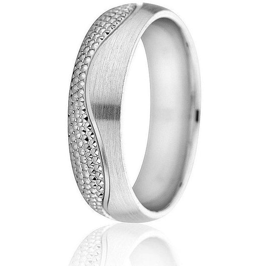 Modern, engraved beaded wave design with a satin finish in 6mm white gold with comfort fit.