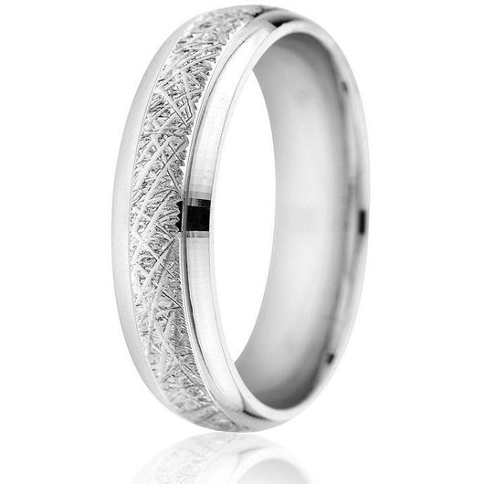 Domed, beveled edge with centre etching engraving in 14k 6mm white gold with comfort fit wedding ring.