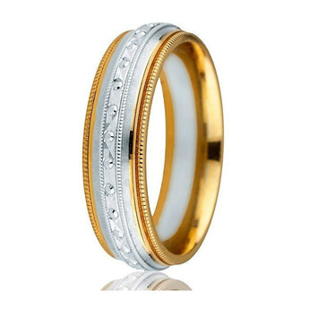 Eye-catching domed 6mm comfort-fit milgrain edge with engraved detailed white gold inlay with 2 milgrain edges wedding ring.