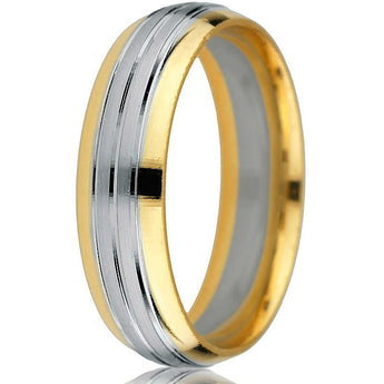 Smart and sleek 14k two-tone yellow and white gold 6mm comfort-fit band with double stripe white gold inlay.