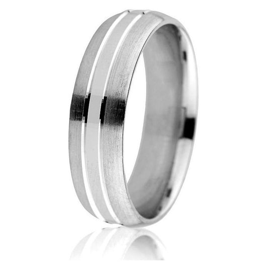 Domed wedding band with bright defined engraved grooves in 14k white gold with comfort fit in 6mm.