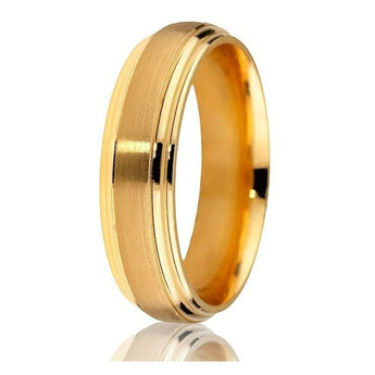 Classic domed double step engraving with satin finish centre in 14k yellow gold in 6mm with comfort fit.