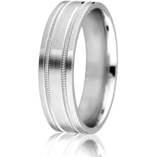 Classic comfort-fit wedding band in 6 mm with milgrain detail and satin finish in white gold.