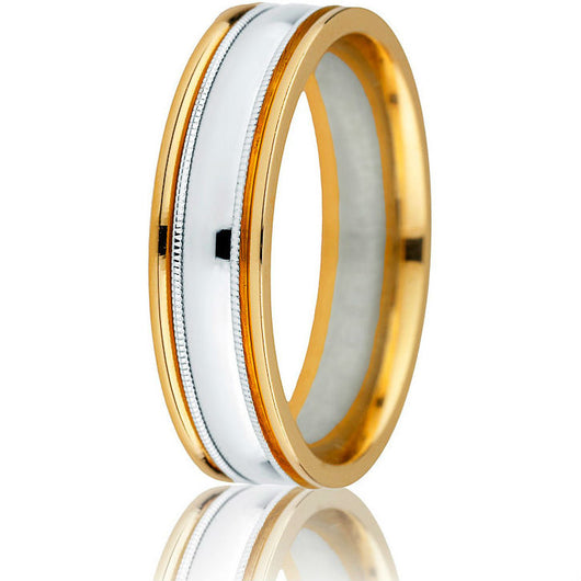 Striking two-tone 6 mm wedding band with white gold centre inlay, milgrain detailing and high polish yellow gold edges.