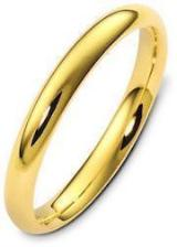 Classic domed (half-round) 3 mm wide comfort-fit wedding band in 14k yellow gold.